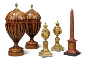 A PAIR OF ORMOLU CASSOLETTES, A RED MARBLE OBELISK AND A PAI