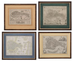 VENICE – Four maps of Venice, 16th century and later.