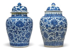 TWO CHINESE BLUE AND WHITE BALUSTER VASES AND TWO COVERS