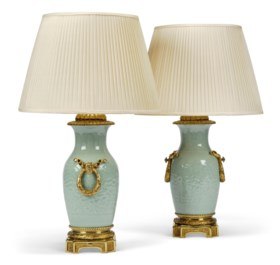 A PAIR OF ORMOLU-MOUNTED CELADON PORCELAIN VASE TABLE LAMPS