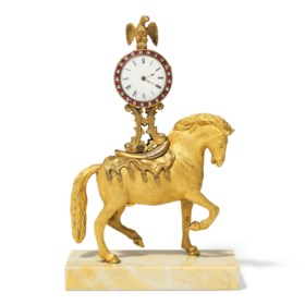 A GEORGE III ORMOLU TIMEPIECE TABLE CLOCK