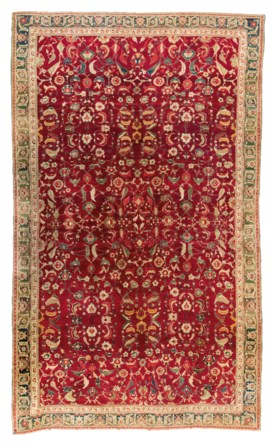 A LARGE AGRA CARPET