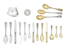 A FRENCH SILVER AND SILVER-GILT TABLE SERVICE