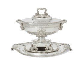 A GEORGE III SILVER SOUP-TUREEN, COVER AND STAND