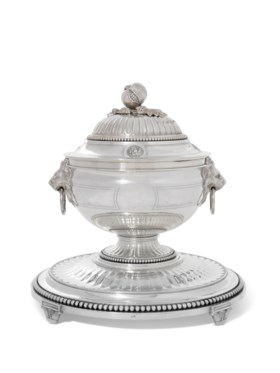 A FRENCH LOUIS XV STYLE SILVER POT-A-OILLE, COVER, STAND AND