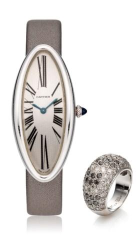 CARTIER, BAIGNOIRE ALLONGEE WATCH & MATCHING DIAMOND RING SE