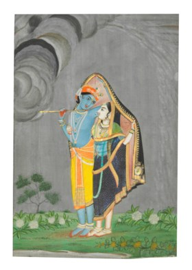 KRISHNA AND RADHA SHELTERING FROM A STORM