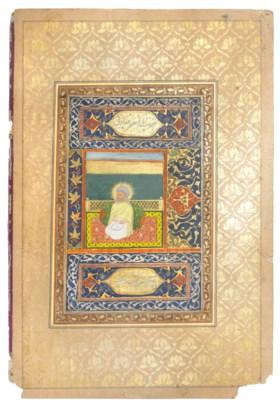 AN ALBUM PAGE: A SEATED PORTRAIT OF IMAM JA'FAR AL-SADIQ