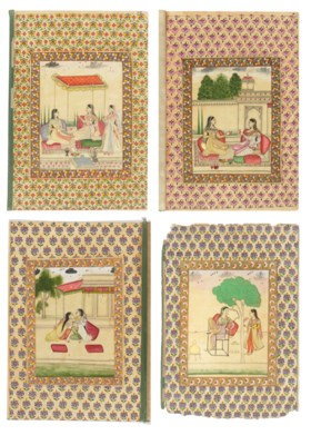 FOUR ILLUSTRATIONS OF LADIES ENGAGED IN LEISURELY ACTIVITIES