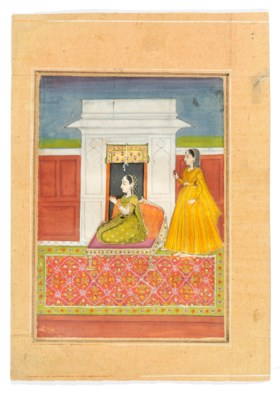 TWO ILLUSTRATIONS OF SEATED LADIES WITH ATTENDANTS