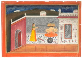 AN ILLUSTRATION TO A RAMAYANA SERIES: RAVANA SEATED WITHIN A